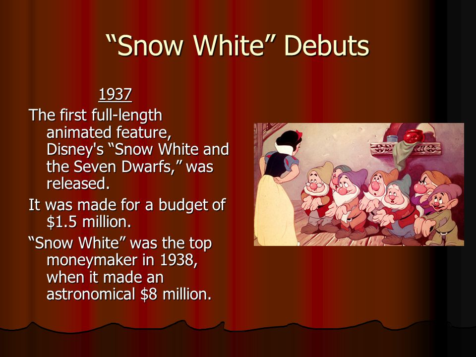Snow White Debuts 1937 1937 The first full-length animated feature, Disney s Snow White and the Seven Dwarfs, was released.