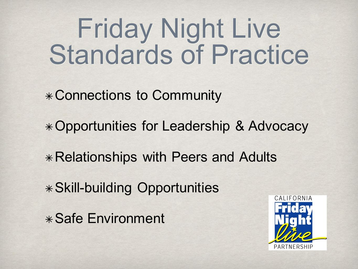 Friday Night Live Standards of Practice Connections to Community Opportunities for Leadership & Advocacy Relationships with Peers and Adults Skill-bui