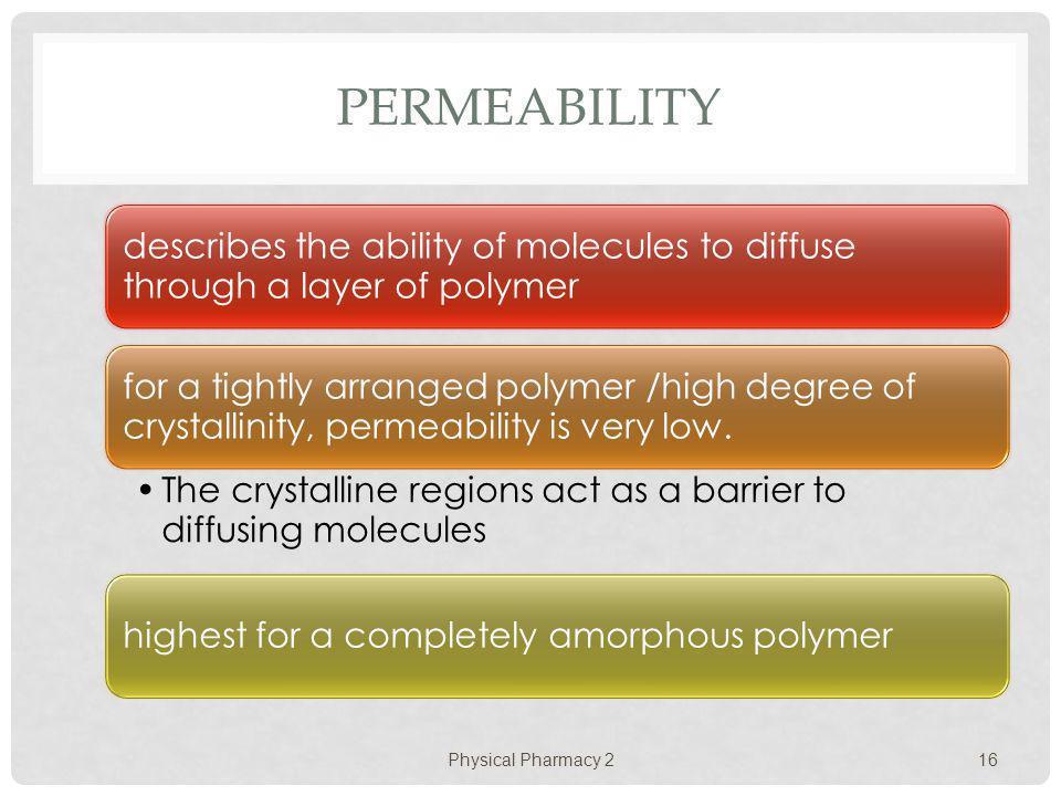PERMEABILITY Physical Pharmacy 2 16
