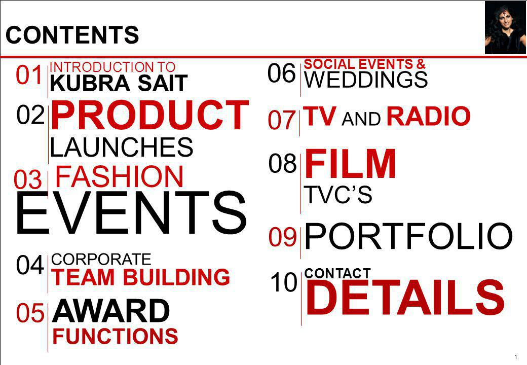 CONTENTS 1 01 PRODUCT LAUNCHES 02 FASHION EVENTS 03 CORPORATE TEAM BUILDING 04 05 INTRODUCTION TO KUBRA SAIT AWARD FUNCTIONS SOCIAL EVENTS & WEDDINGS