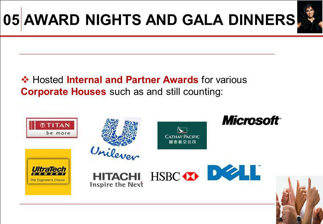 05 AWARD NIGHTS AND GALA DINNERS 6 Hosted Internal and Partner Awards for various Corporate Houses such as and still counting: