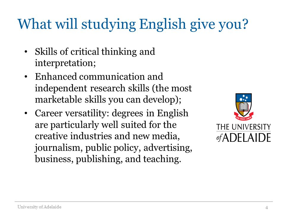 What will studying English give you.