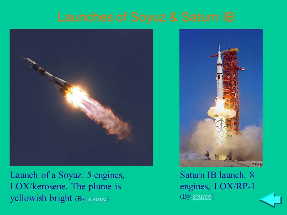 Launches of Soyuz & Saturn IB Launch of a Soyuz. 5 engines, LOX/kerosene. The plume is yellowish bright (By source)source Saturn IB launch. 8 engines,
