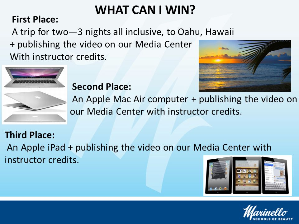 Third Place: An Apple iPad + publishing the video on our Media Center with instructor credits.