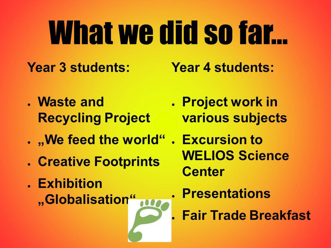 What we did so far... Year 3 students: Waste and Recycling Project We feed the world Creative Footprints Exhibition Globalisation Year 4 students: Pro