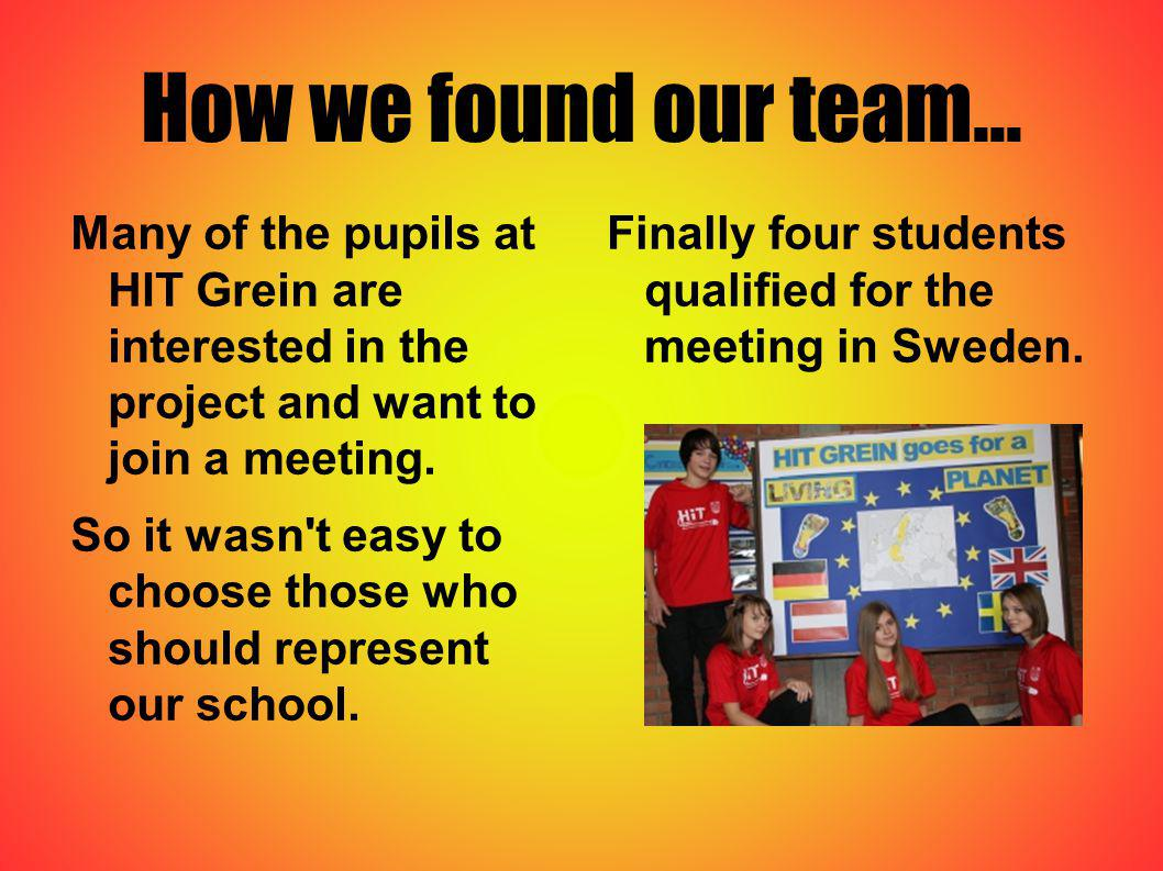 How we found our team... Many of the pupils at HIT Grein are interested in the project and want to join a meeting. So it wasn't easy to choose those w