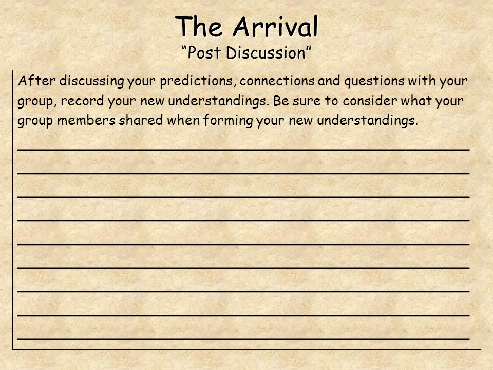 The Arrival Post Discussion After discussing your predictions, connections and questions with your group, record your new understandings.