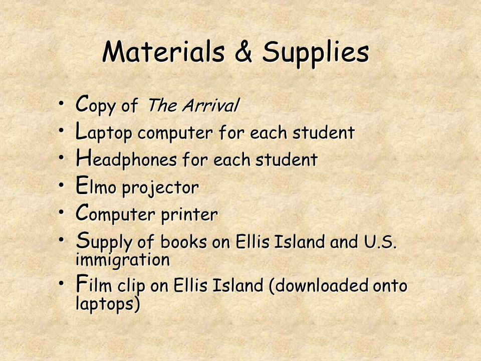 Materials & Supplies C opy of The ArrivalC opy of The Arrival L aptop computer for each studentL aptop computer for each student H eadphones for each studentH eadphones for each student E lmo projectorE lmo projector C omputer printerC omputer printer S upply of books on Ellis Island and U.S.