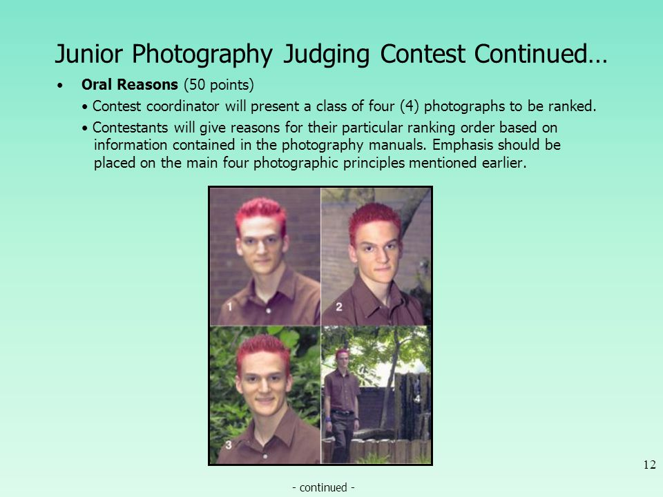 Junior Photography Judging Contest Continued… Oral Reasons (50 points) Contest coordinator will present a class of four (4) photographs to be ranked.