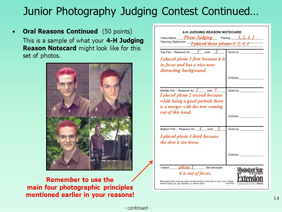 Junior Photography Judging Contest Continued… Oral Reasons Continued (50 points) This is a sample of what your 4-H Judging Reason Notecard might look