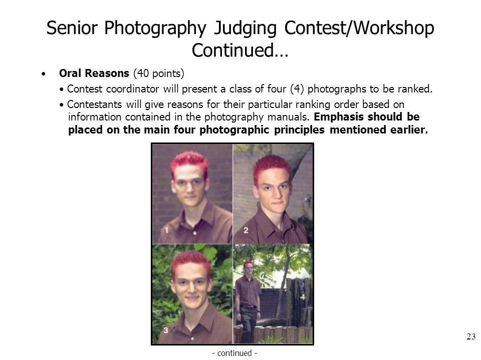 Senior Photography Judging Contest/Workshop Continued… Oral Reasons (40 points) Contest coordinator will present a class of four (4) photographs to be ranked.