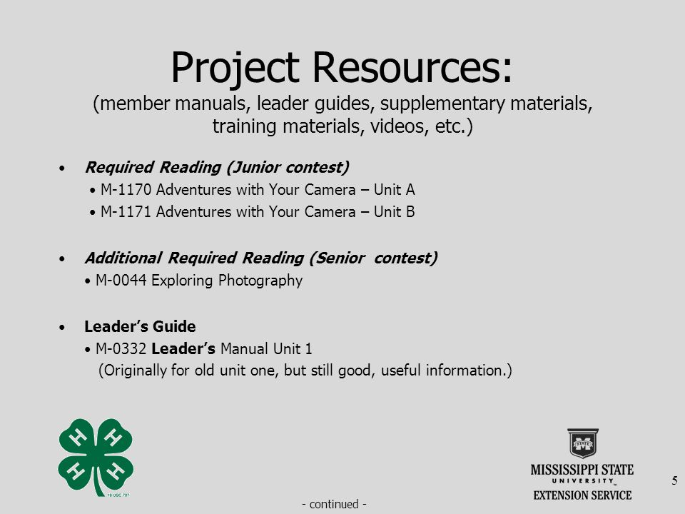 Project Resources: (member manuals, leader guides, supplementary materials, training materials, videos, etc.) Required Reading (Junior contest) M-1170