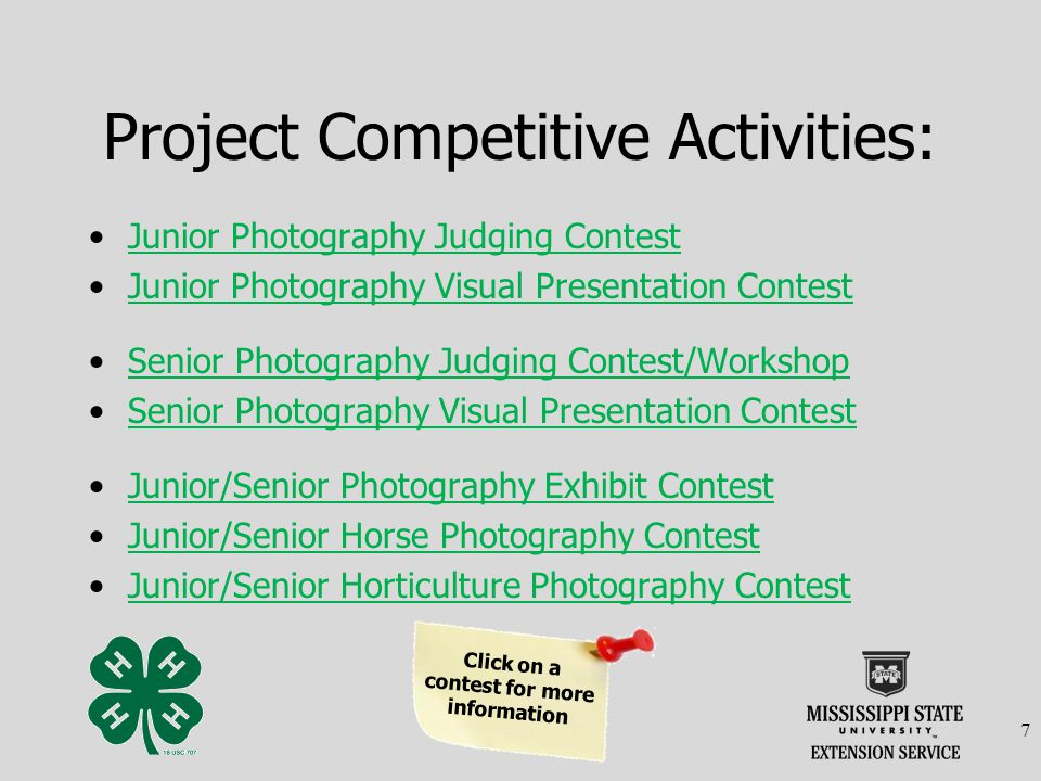 Junior & Senior Photography Exhibit Contest Junior Age Level (8-13) Senior Age Level (14-18 ) TRADITIONAL and DIGITAL PHOTOGRAPHY EXHIBIT CONTEST All photo exhibit entries (traditional and digital) are due during registration on the first day of 4-H Congress.