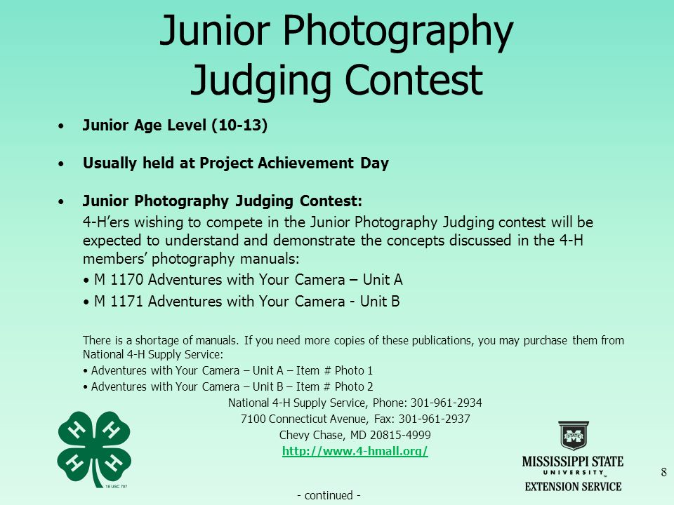 Junior & Senior Photography Exhibit Contest Continued How to Turn in Photos for Contest DIGITAL – (CREATIVE) 39 If you guessed the flower poster, you are CORRECT.