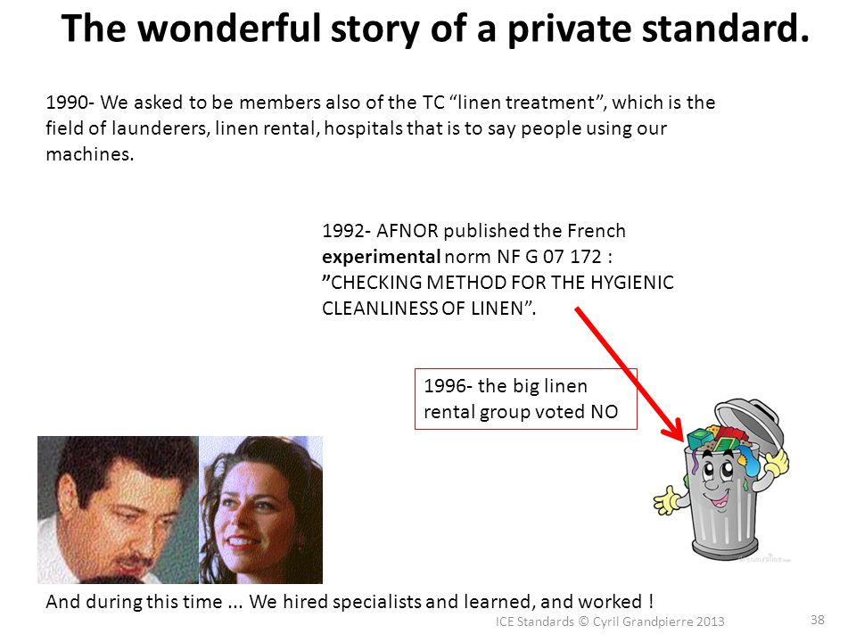 ICE Standards © Cyril Grandpierre 2013 38 The wonderful story of a private standard.