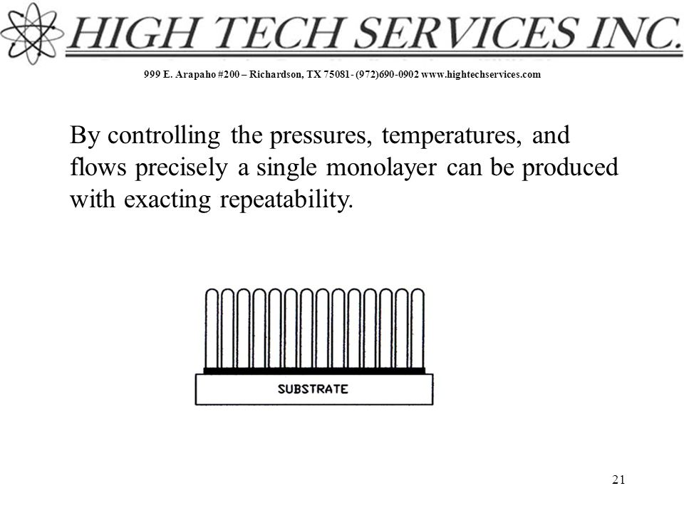 999 E. Arapaho #200 – Richardson, TX 75081- (972)690-0902 www.hightechservices.com 21 By controlling the pressures, temperatures, and flows precisely