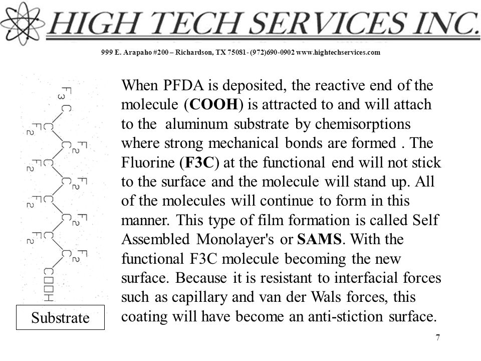 999 E. Arapaho #200 – Richardson, TX 75081- (972)690-0902 www.hightechservices.com 7 When PFDA is deposited, the reactive end of the molecule (COOH) i