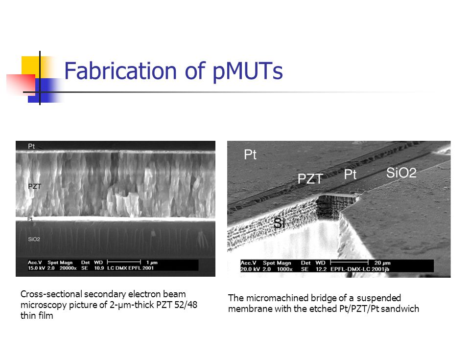 Fabrication of pMUTs Cross-sectional secondary electron beam microscopy picture of 2-μm-thick PZT 52/48 thin film The micromachined bridge of a suspen
