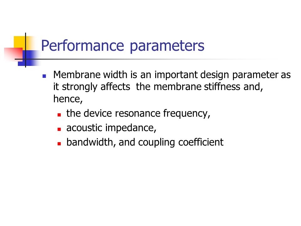 Performance parameters Membrane width is an important design parameter as it strongly affects the membrane stiffness and, hence, the device resonance