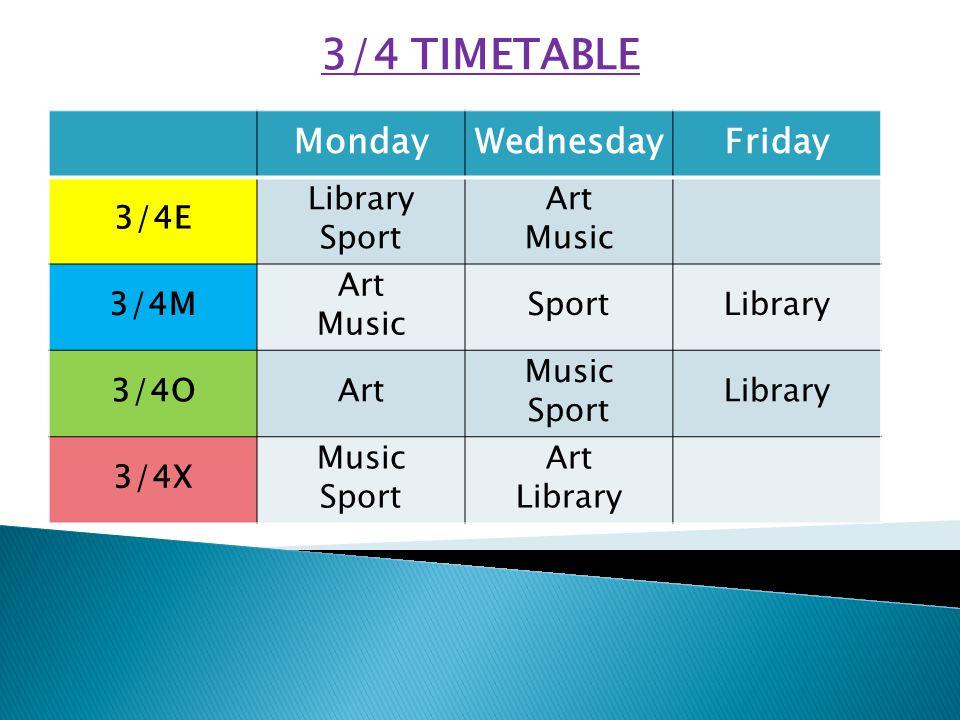 MondayWednesdayFriday 3/4E Library Sport Art Music 3/4M Art Music SportLibrary 3/4OArt Music Sport Library 3/4X Music Sport Art Library 3/4 TIMETABLE