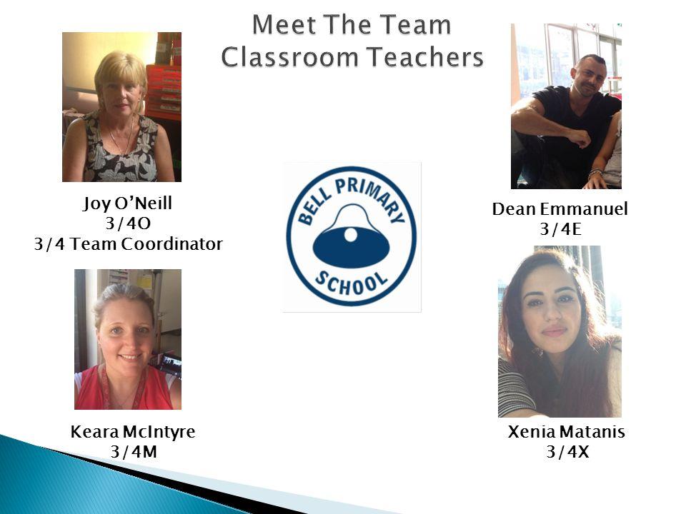 Joy ONeill 3/4O 3/4 Team Coordinator Dean Emmanuel 3/4E Keara McIntyre 3/4M Xenia Matanis 3/4X
