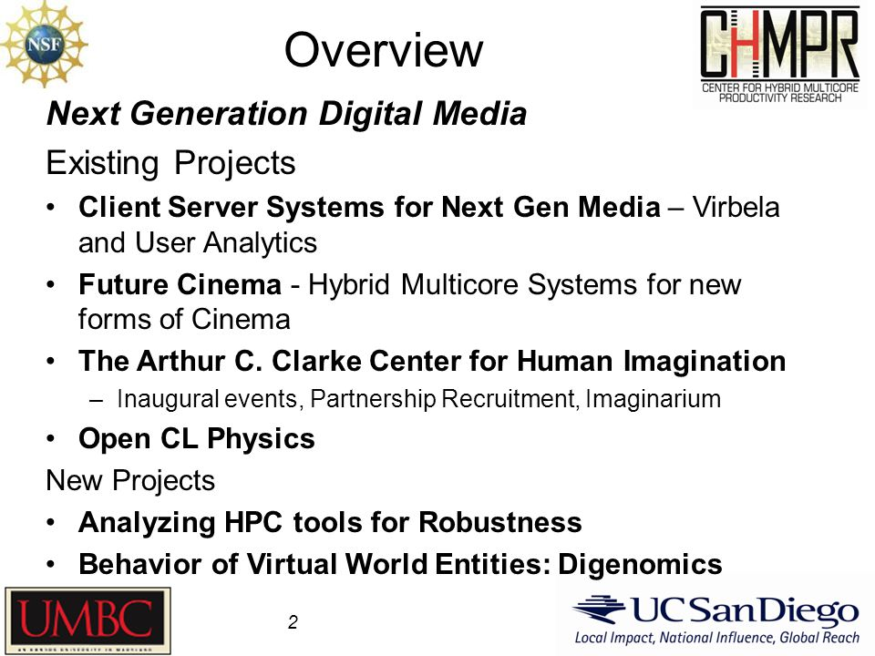 Overview 2 Next Generation Digital Media Existing Projects Client Server Systems for Next Gen Media – Virbela and User Analytics Future Cinema - Hybri