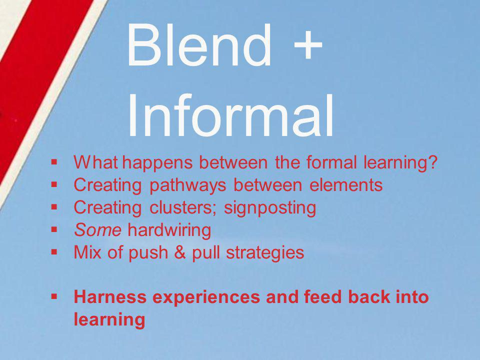 Blend + Informal What happens between the formal learning.
