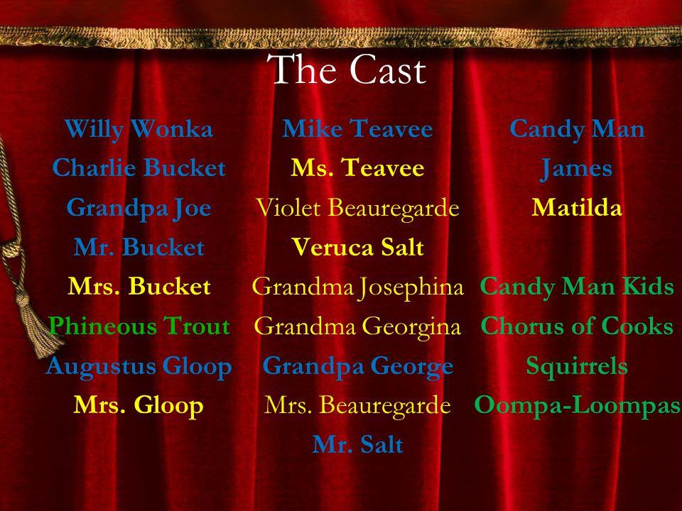 The Cast Willy Wonka Charlie Bucket Grandpa Joe Mr. Bucket Mrs. Bucket Phineous Trout Augustus Gloop Mrs. Gloop Mike Teavee Ms. Teavee Violet Beaurega