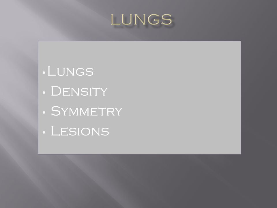 Lungs Density Symmetry Lesions
