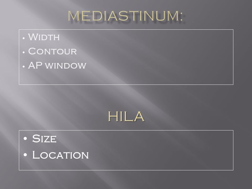 Width Contour AP window HILA Size Location