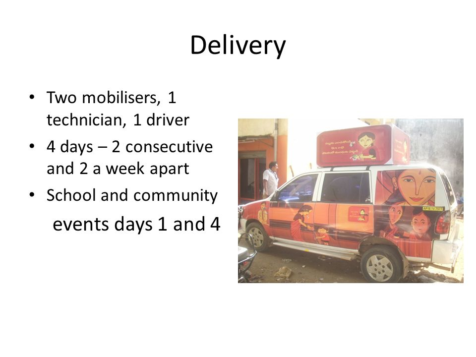 Delivery Two mobilisers, 1 technician, 1 driver 4 days – 2 consecutive and 2 a week apart School and community events days 1 and 4