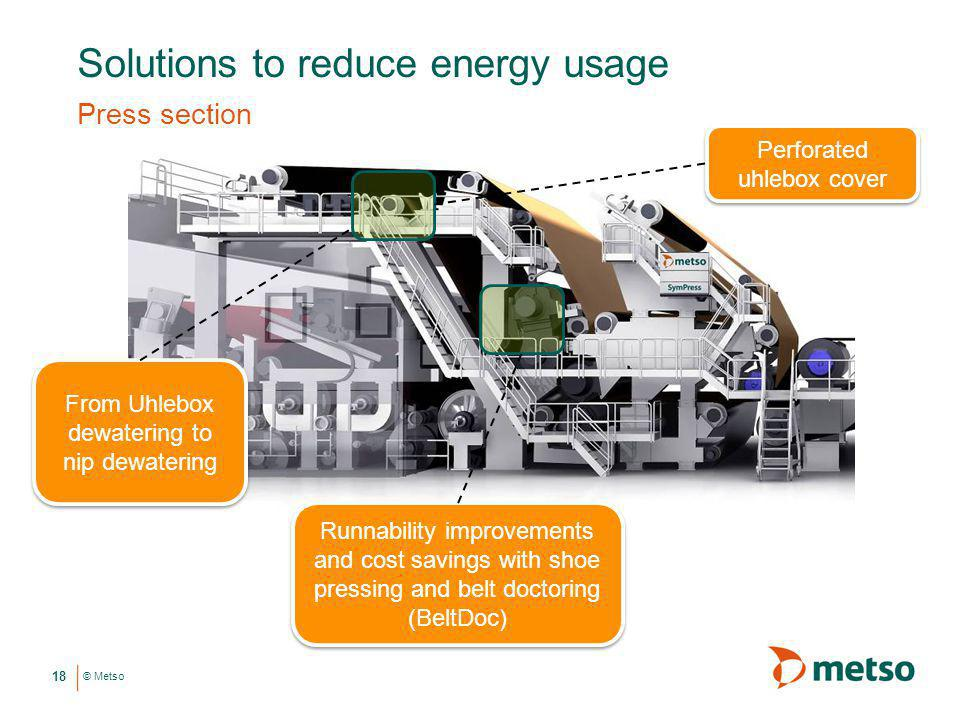 © Metso Solutions to reduce energy usage Press section 18 Runnability improvements and cost savings with shoe pressing and belt doctoring (BeltDoc) Fr