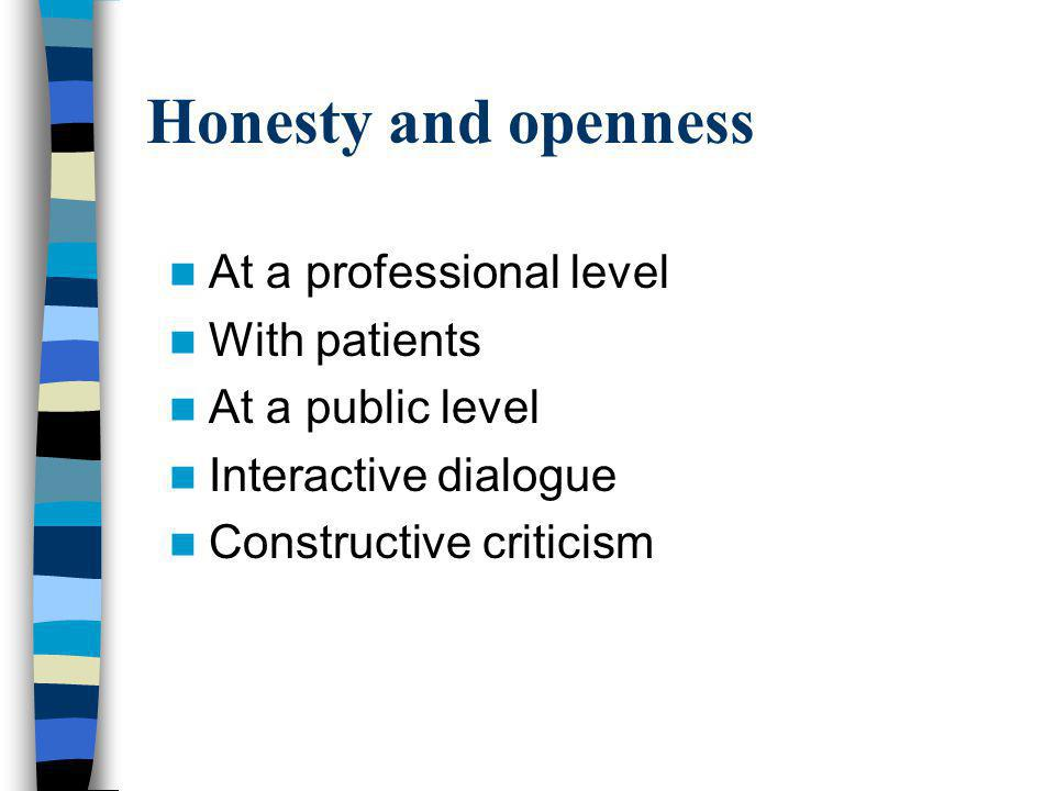 Honesty and openness At a professional level With patients At a public level Interactive dialogue Constructive criticism