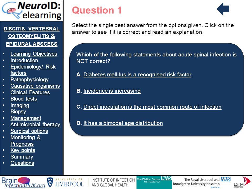 DISCITIS, VERTEBRAL OSTEOMYELITIS & EPIDURAL ABSCESS Learning Objectives Introduction Epidemiology/ Risk factorsEpidemiology/ Risk factors Pathophysio