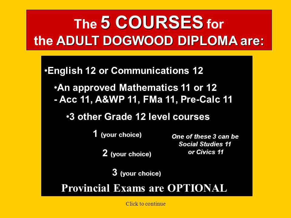 You need a minimum of 5 SPECIFIC COURSES What COURSES do I need to take to receive the Adult DOGWOOD DIPLOMA.