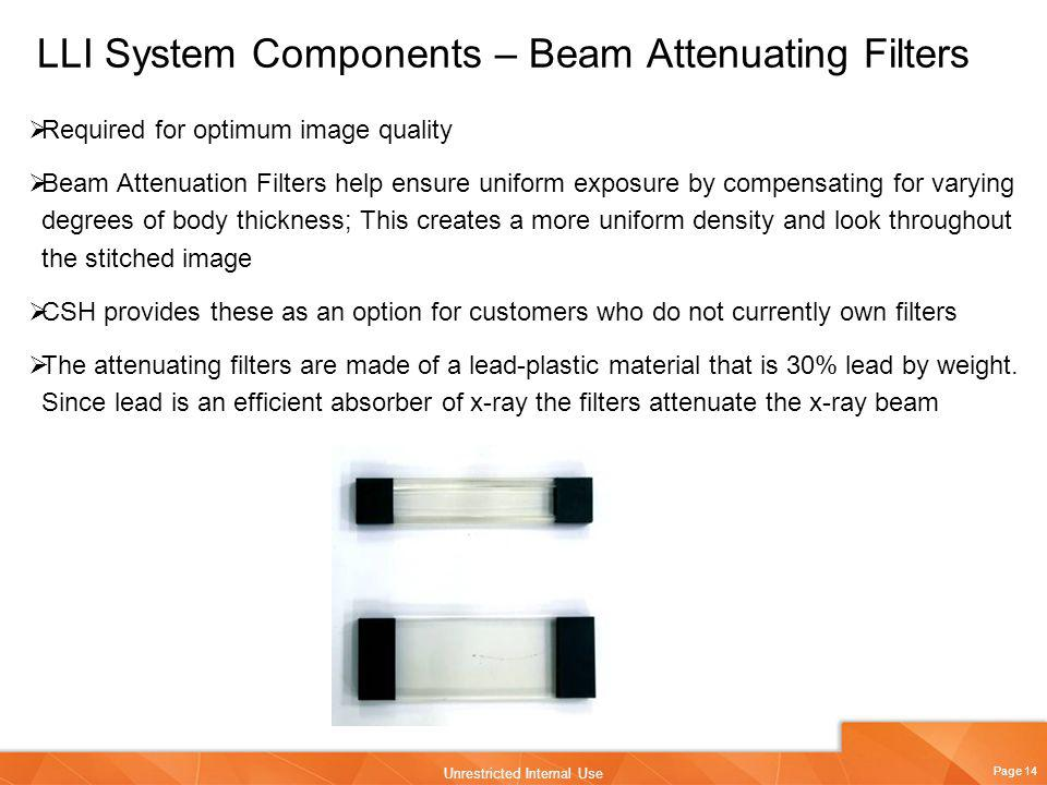 Page 14 Unrestricted Internal Use LLI System Components – Beam Attenuating Filters Required for optimum image quality Beam Attenuation Filters help en