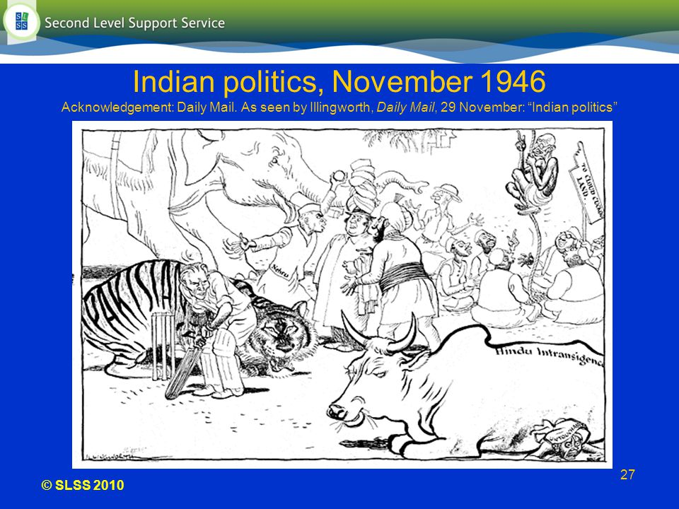 © SLSS 2010 27 Indian politics, November 1946 Acknowledgement: Daily Mail. As seen by Illingworth, Daily Mail, 29 November: Indian politics
