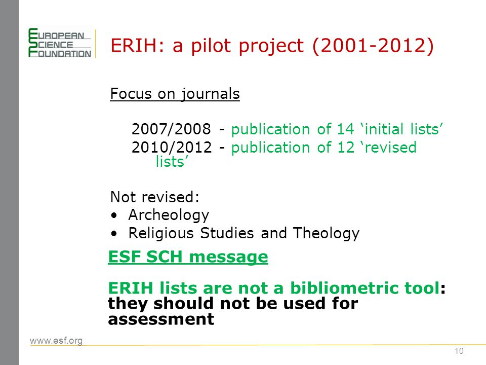 www.esf.org ERIH: a pilot project (2001-2012) Focus on journals 2007/2008 - publication of 14 initial lists 2010/2012 - publication of 12 revised list