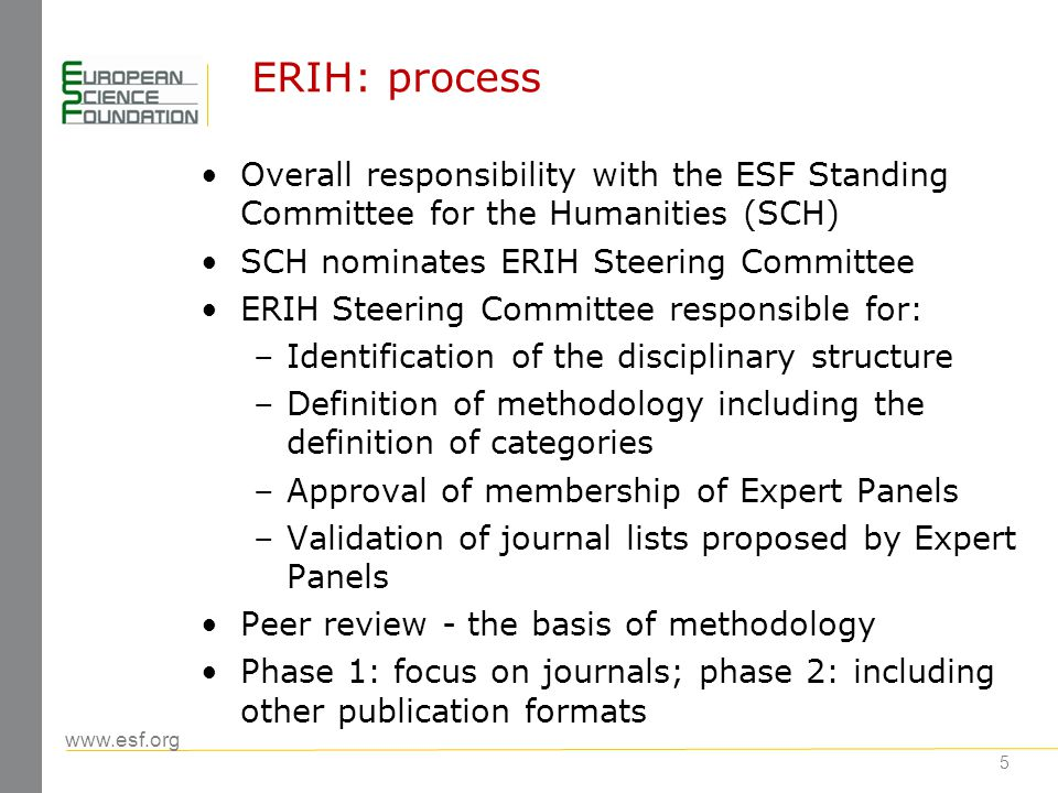 www.esf.org 5 ERIH: process Overall responsibility with the ESF Standing Committee for the Humanities (SCH) SCH nominates ERIH Steering Committee ERIH