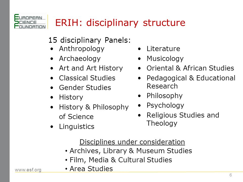 www.esf.org 6 ERIH: disciplinary structure Anthropology Archaeology Art and Art History Classical Studies Gender Studies History History & Philosophy
