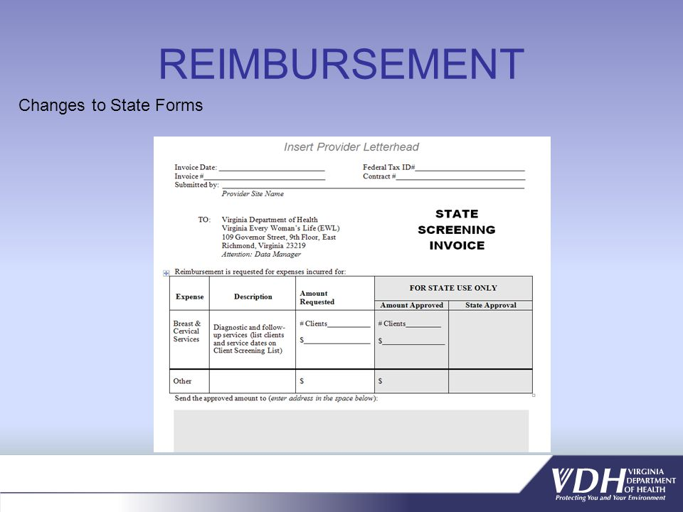 REIMBURSEMENT Changes to State Forms