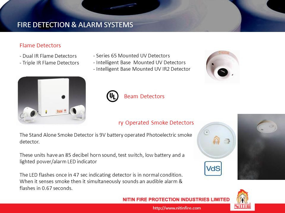 http://www.nitinfire.com FIRE DETECTION & ALARM SYSTEMS Aspirating Smoke Detection (also known as Air Sampling) is a method of smoke detection, whereby a sample of air is continuously drawn from the protected area through a network of sampling pipes, and passed through a revolutionary designed laser detection chamber.