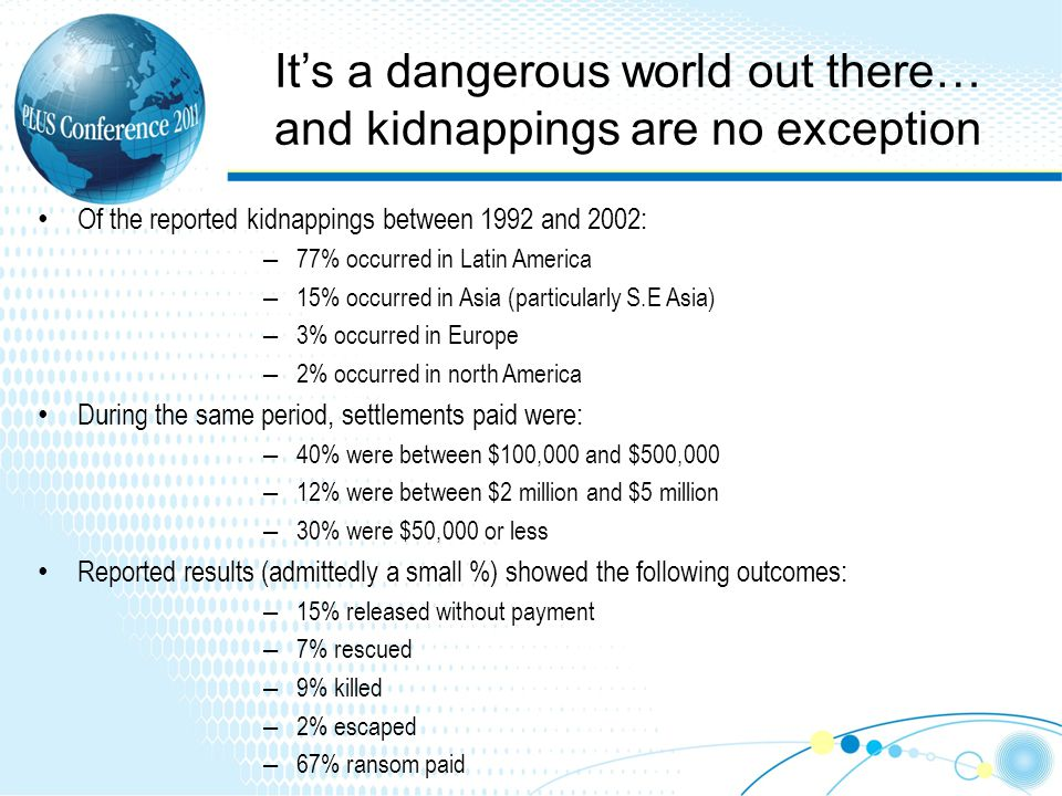 Its a dangerous world out there… and kidnappings are no exception Of the reported kidnappings between 1992 and 2002: – 77% occurred in Latin America – 15% occurred in Asia (particularly S.E Asia) – 3% occurred in Europe – 2% occurred in north America During the same period, settlements paid were: – 40% were between $100,000 and $500,000 – 12% were between $2 million and $5 million – 30% were $50,000 or less Reported results (admittedly a small %) showed the following outcomes: – 15% released without payment – 7% rescued – 9% killed – 2% escaped – 67% ransom paid