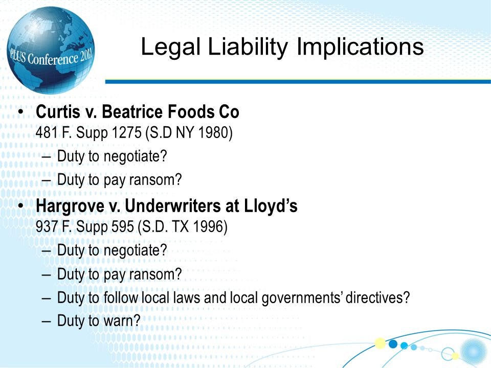 Legal Liability Implications Curtis v. Beatrice Foods Co 481 F.