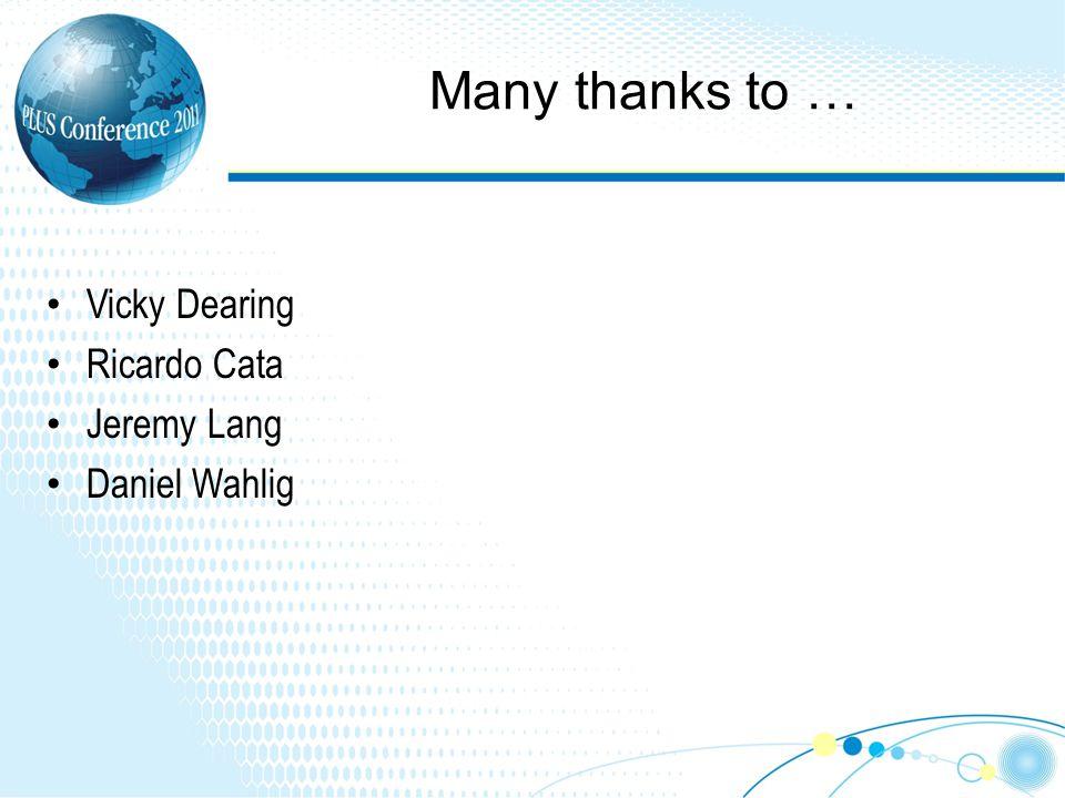 Many thanks to … Vicky Dearing Ricardo Cata Jeremy Lang Daniel Wahlig