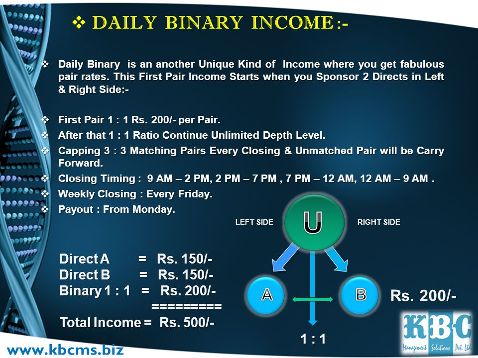 TYPES OF INCOME DIRECT SPONSOR INCOME. DIRECT SPONSOR INCOME. DAILY BINARY INCOME. DAILY BINARY INCOME. ROYALTY INCOME. ROYALTY INCOME. AWARDS & REWAR