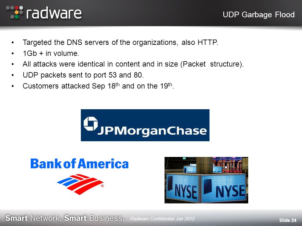 UDP Garbage Flood Targeted the DNS servers of the organizations, also HTTP.