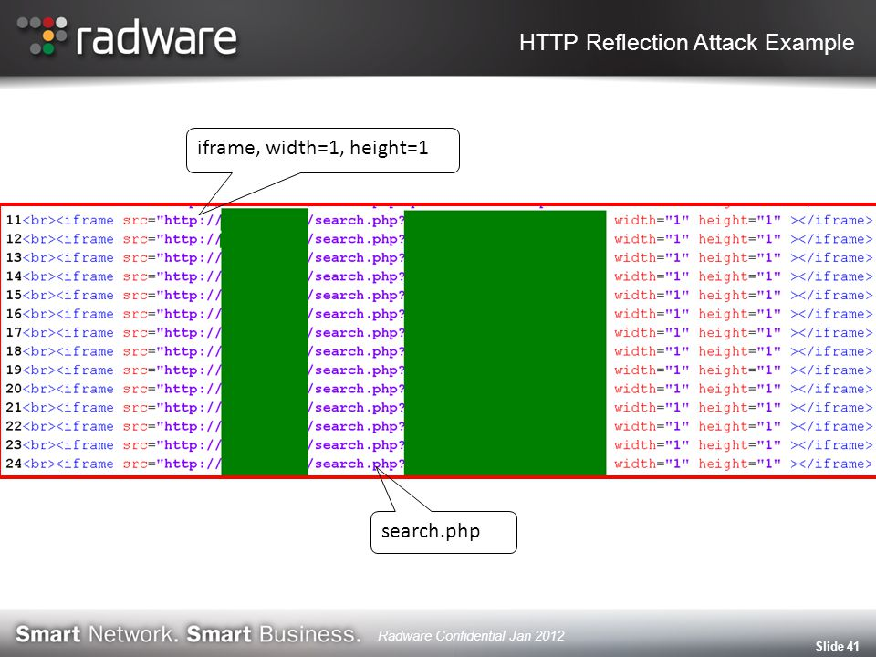 Slide 41 iframe, width=1, height=1 search.php HTTP Reflection Attack Example Radware Confidential Jan 2012