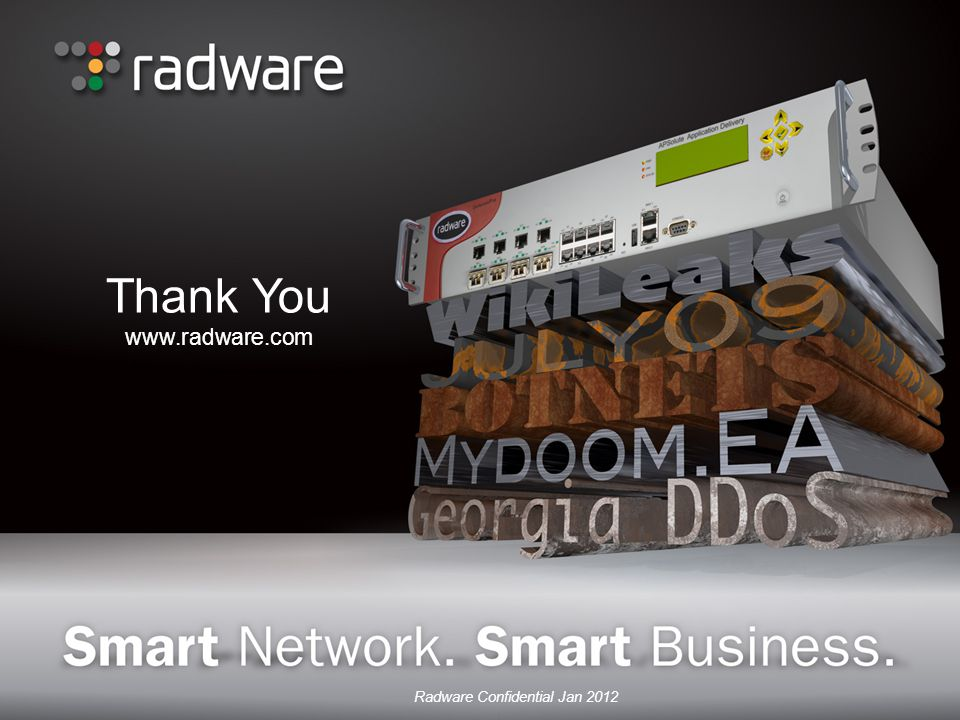 Thank You www.radware.com Radware Confidential Jan 2012