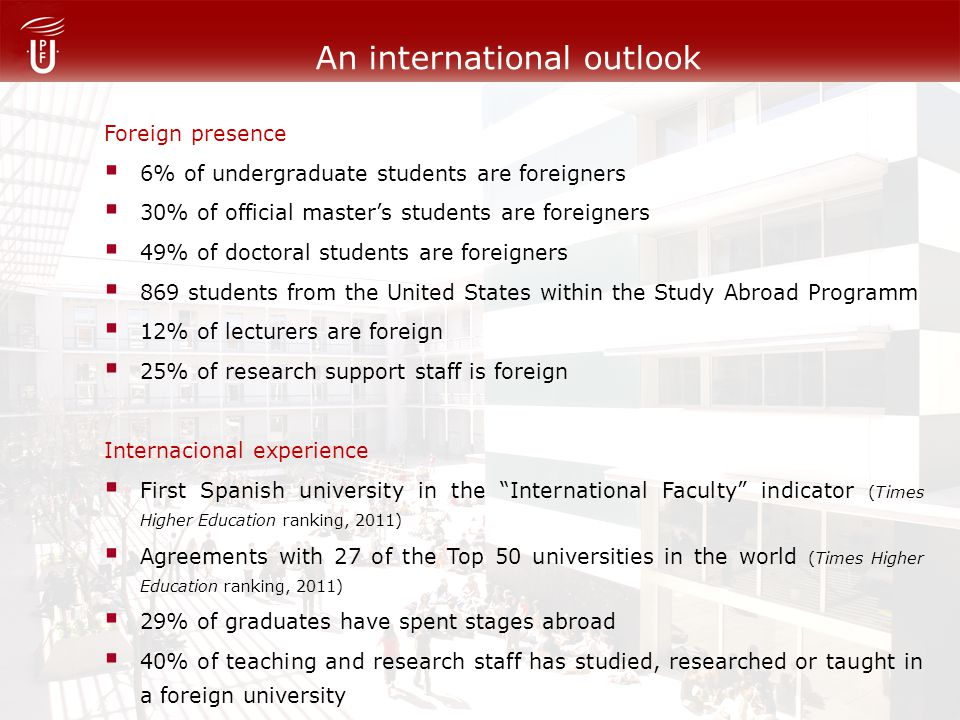 An international outlook Foreign presence 6% of undergraduate students are foreigners 30% of official masters students are foreigners 49% of doctoral students are foreigners 869 students from the United States within the Study Abroad Programm 12% of lecturers are foreign 25% of research support staff is foreign Internacional experience First Spanish university in the International Faculty indicator (Times Higher Education ranking, 2011) Agreements with 27 of the Top 50 universities in the world (Times Higher Education ranking, 2011) 29% of graduates have spent stages abroad 40% of teaching and research staff has studied, researched or taught in a foreign university